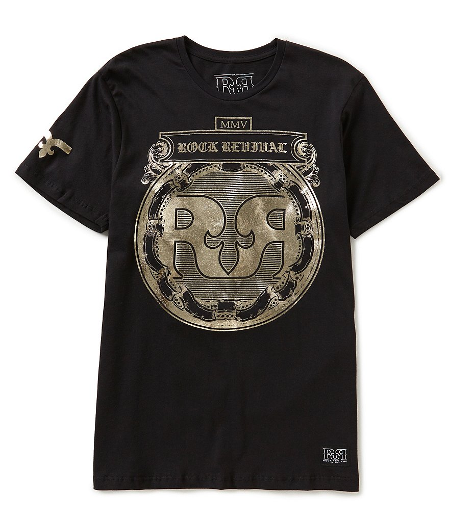 Rock Revival Foiled-Logo Short-Sleeve Graphic Tee