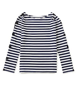 kate spade new york Big Girls 7-14 Striped Bow Top