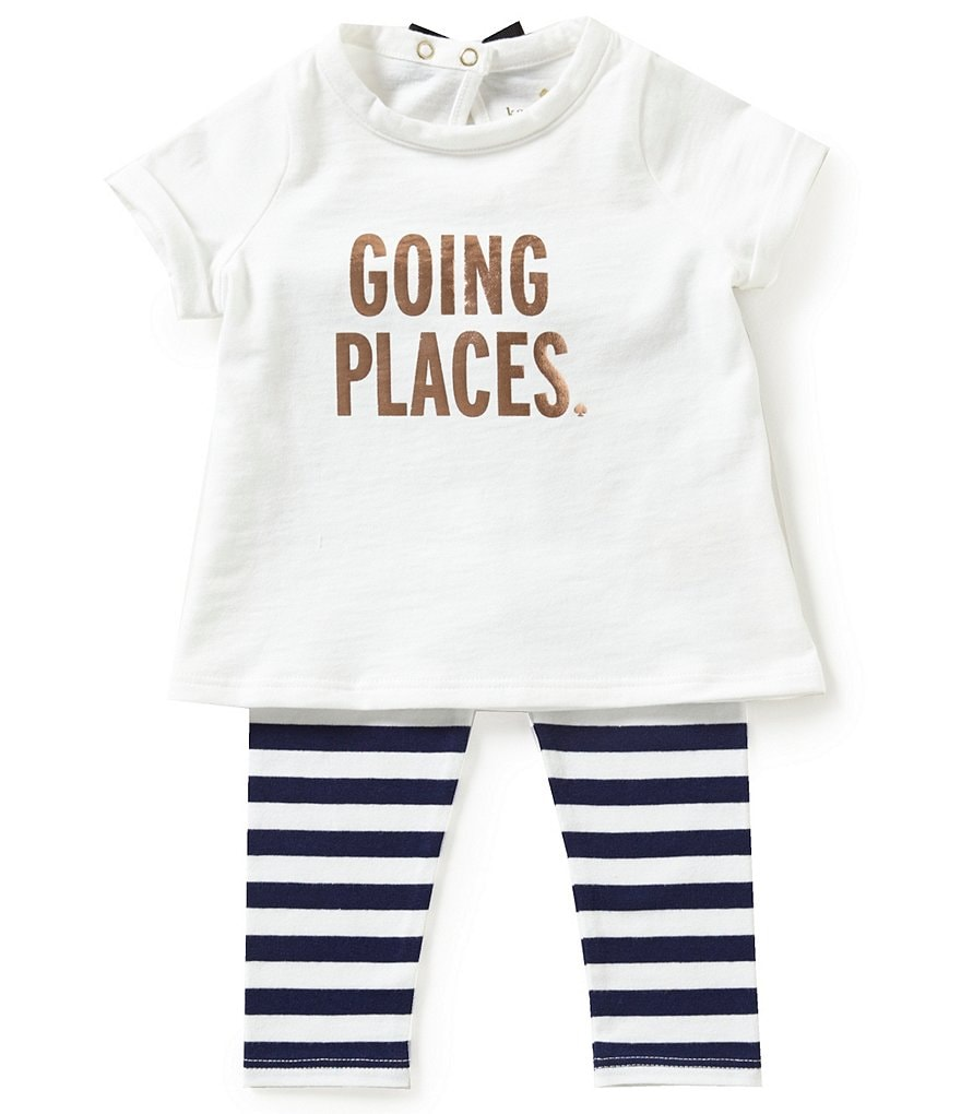 Kate Spade New York Baby Girls 6-24 Months Going Places Tee & Leggings Set