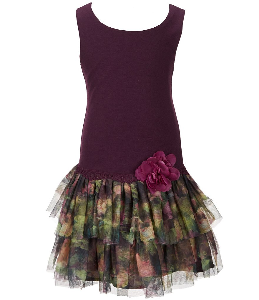 Zunie Little Girls 2T-6X Drop-Waist Tulle Dress