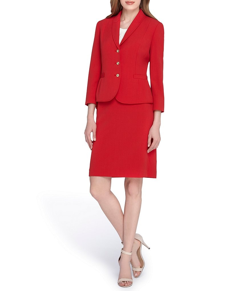 Tahari ASL Shawl Collar 3-Button Skirt Suit