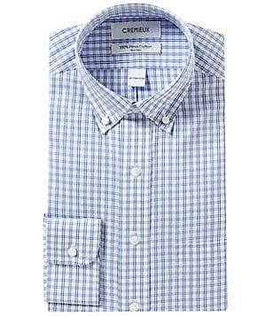 Cremieux Non-Iron Fitted Classic-Fit Button-Down Collar Checked Dress Shirt