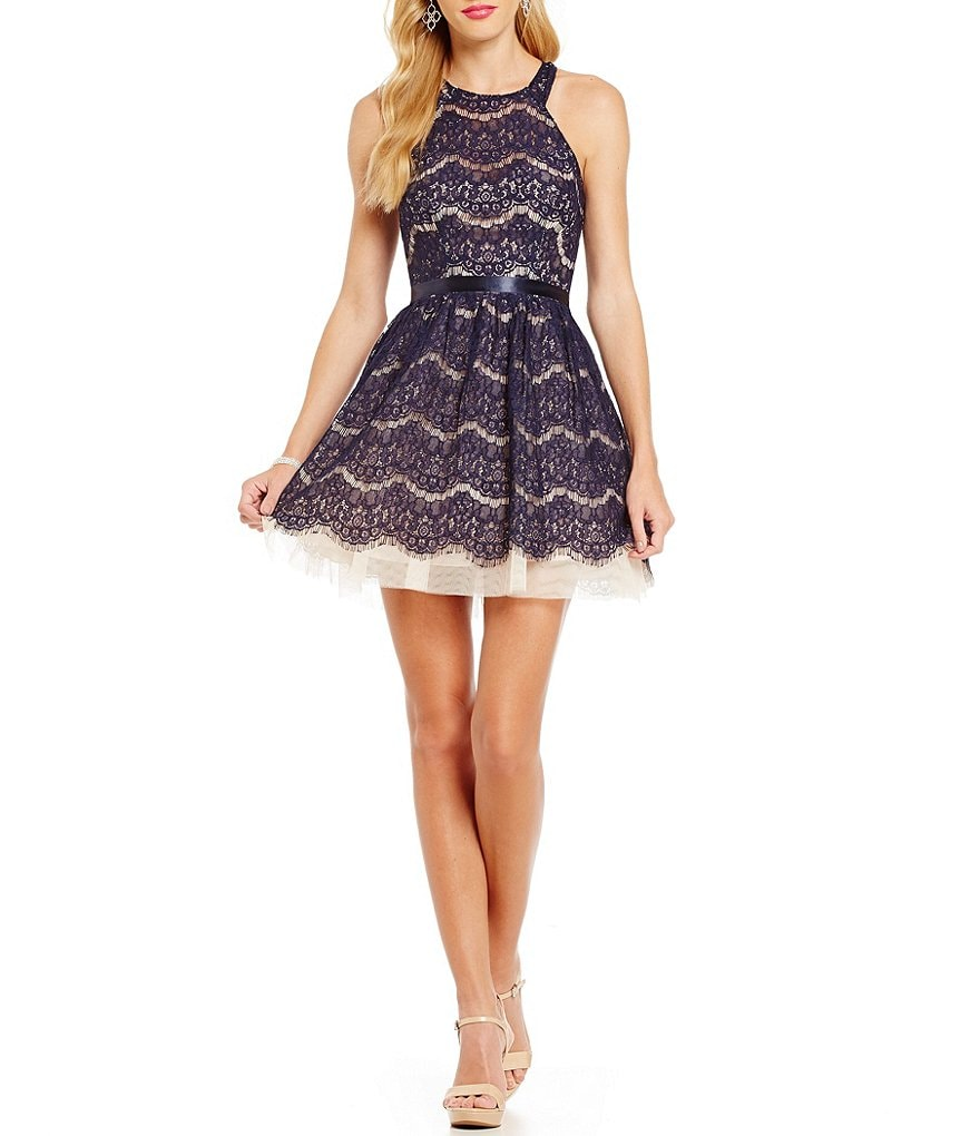 B. Darlin High-Neck Two Tone Lace A-line Party Dress
