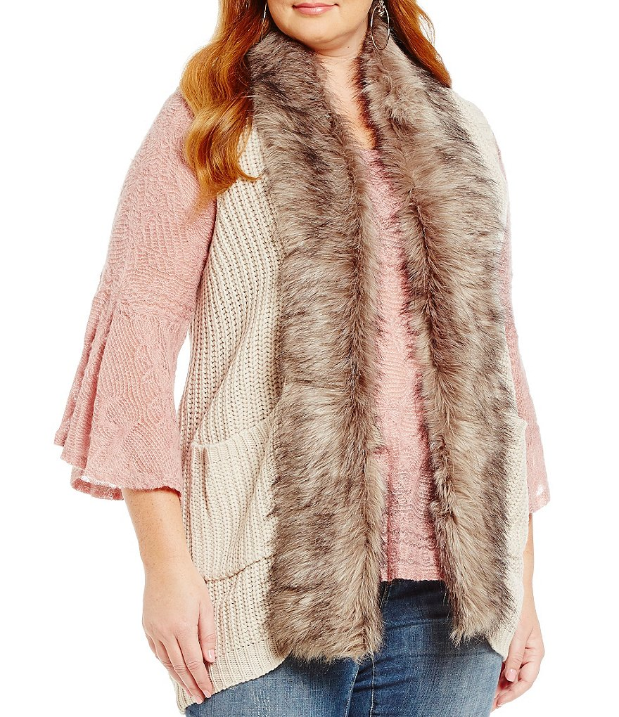 Jessica Simpson Plus Powder Faux-Fur Sweater Vest