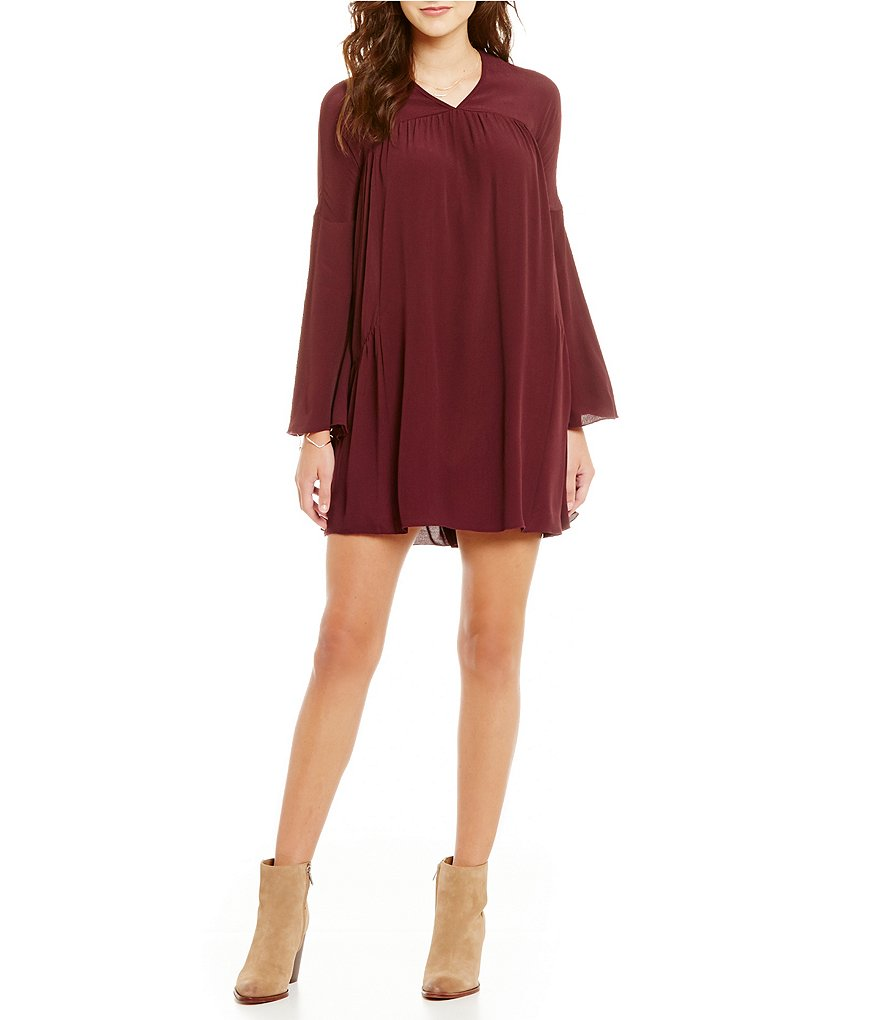 ELAN High Neck Keyhole Back Bell Sleeve Pocket Dress