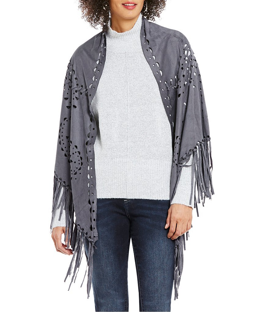 ELAN Faux-Suede Cut-Out Fringe Shawl