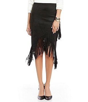 ELAN Side Zip Faux-Suede Fringed Hem Pencil Skirt