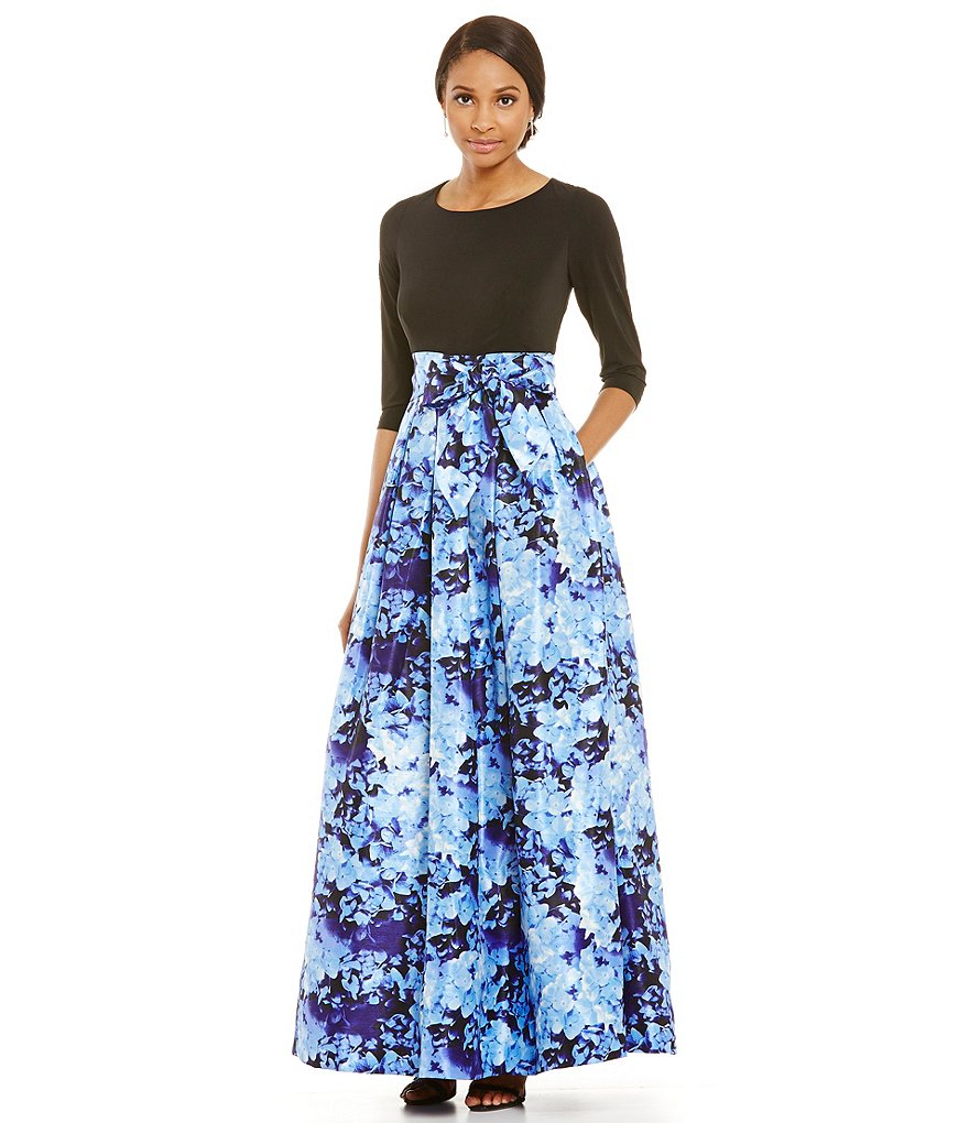 Jessica Howard 3/4 Sleeve Solid Top with Floral Skirt Ballgown