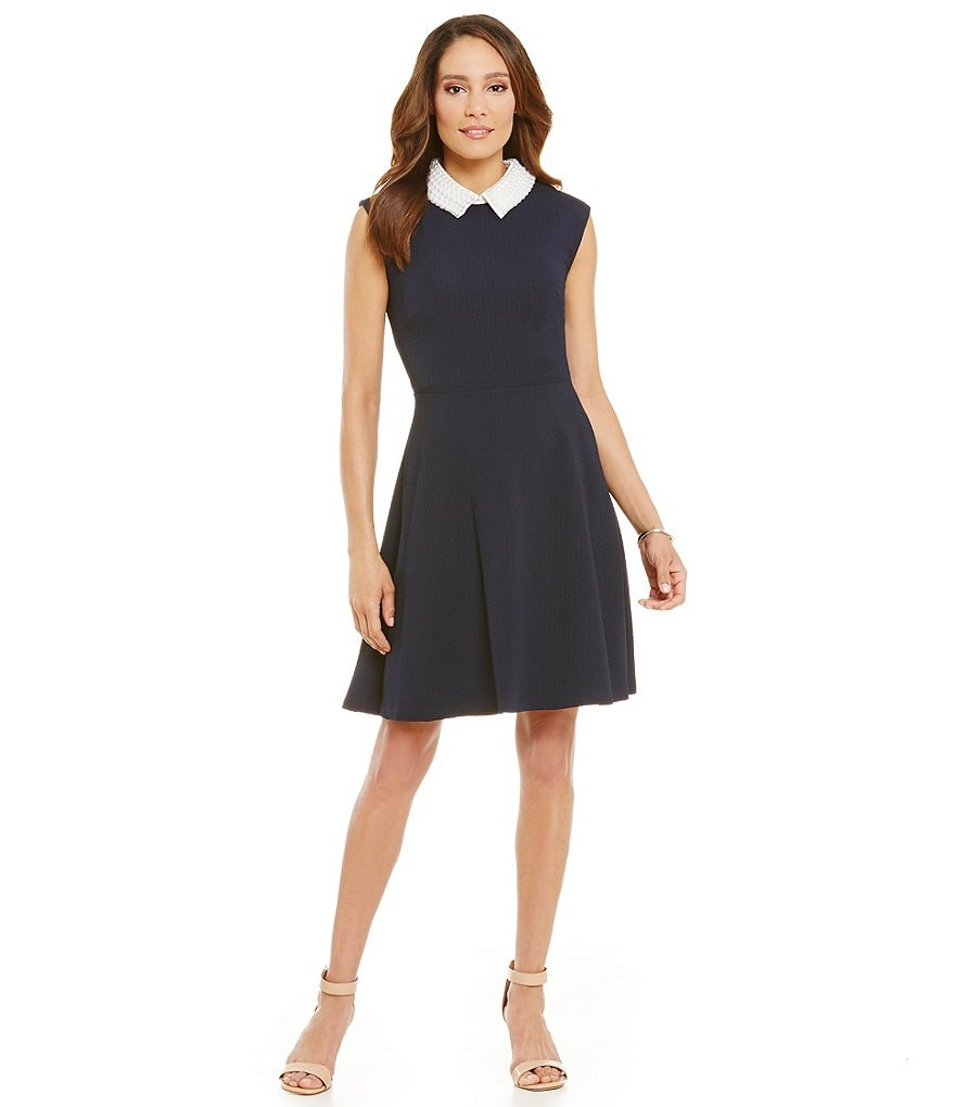 Jessica Howard Extended Shoulder Beaded Peter Pan Collar Fit-and-Flare Dress