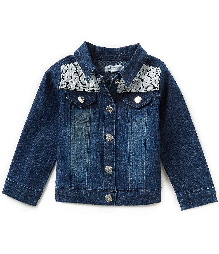 Jessica Simpson Baby Girls 12-24 Months Stretch Denim Lace-Detailed Jacket