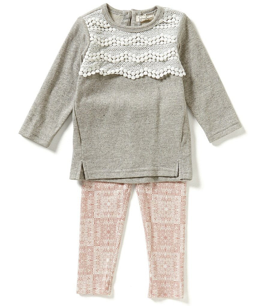 Jessica Simpson Baby Girls 12-24 Months Marled Terry Top and Printed Jersey Leggings Set