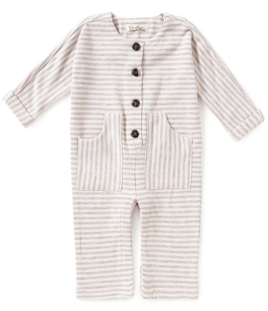 Jessica Simpson Baby Girls Newborn-9 Months Striped Button-Down Coverall