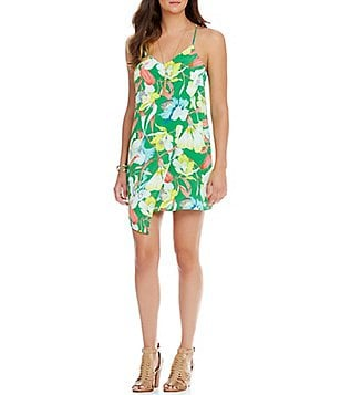 GB Floral Wrap Front Sheath Dress