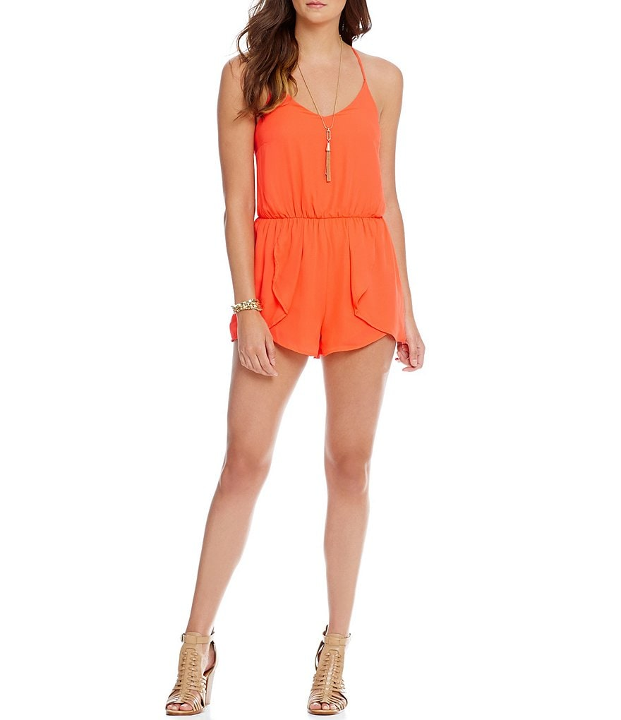GB Ruffle Cross Back Short Romper