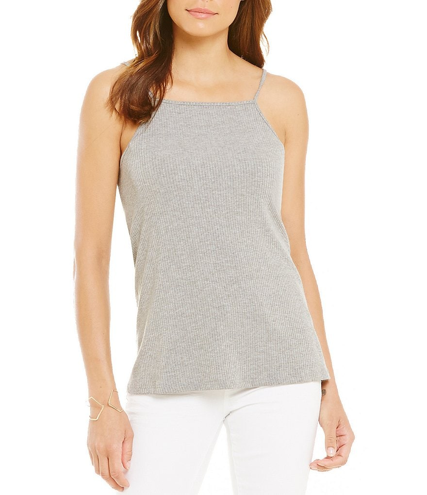 GB Ribbed High Neck Tank Top