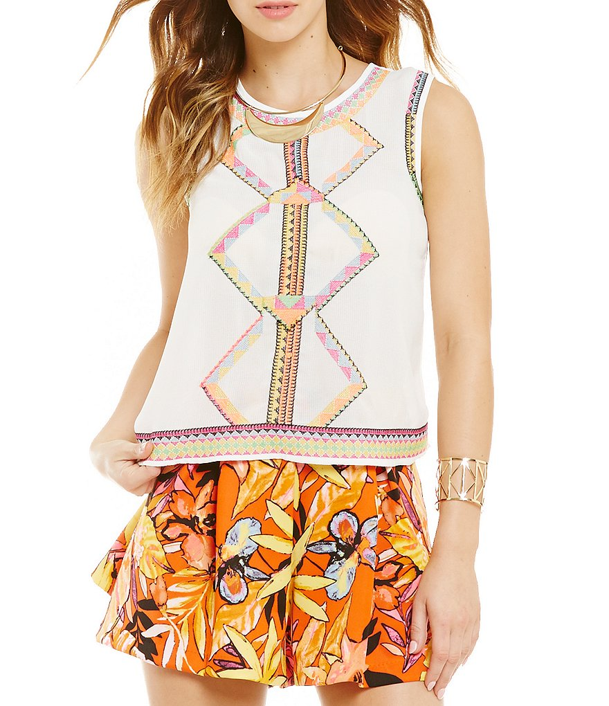 GB Sleeveless Embroidered Blouse