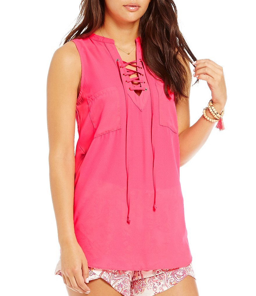 GB Sleeveless Lace-Up Blouse