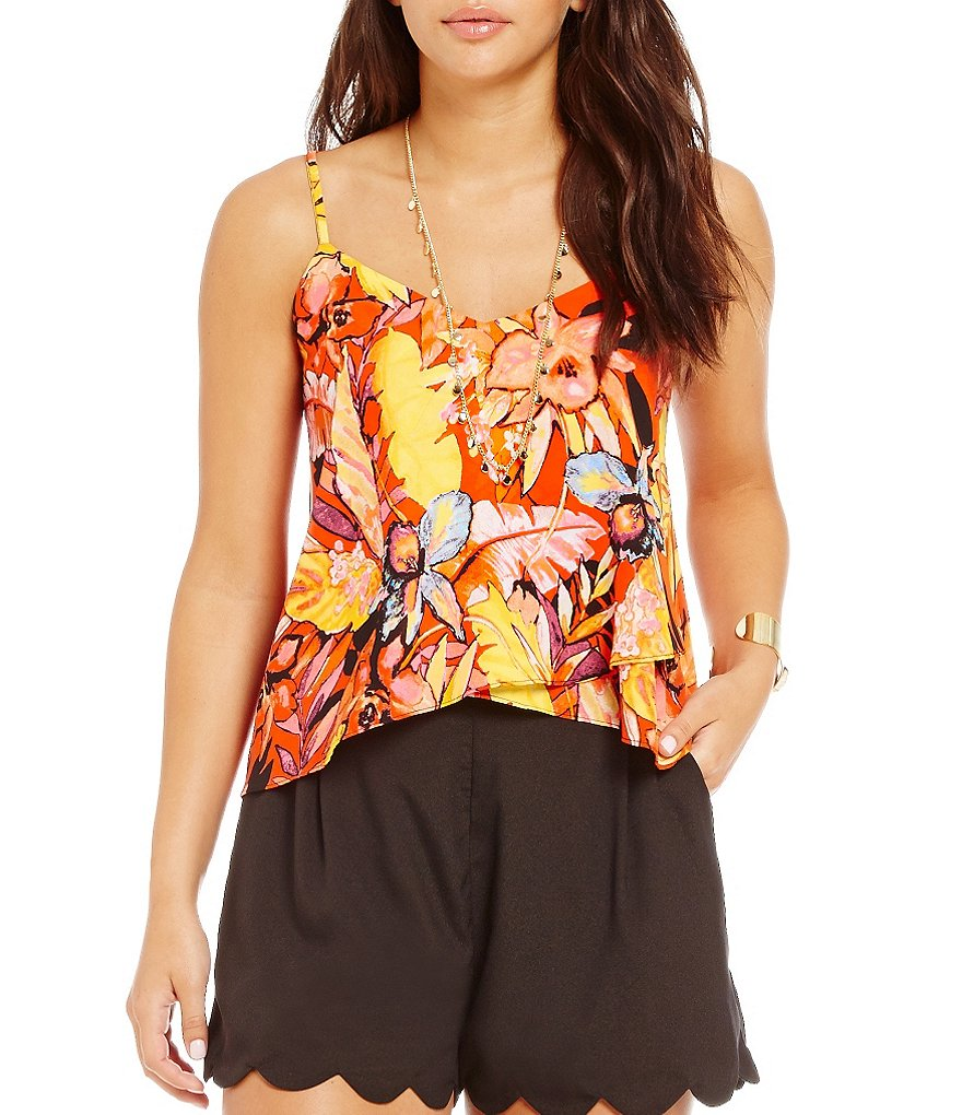 GB Sleeveless Floral-Printed Blouse