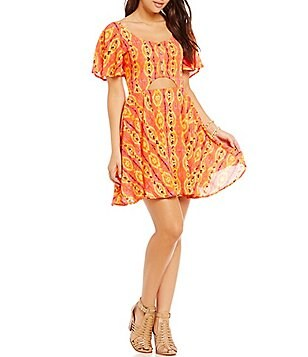 GB Cut-Out Flutter Sleeve Printed Dress