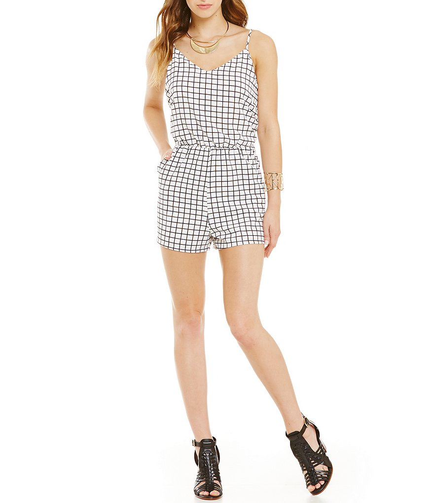 GB Windowpane Print Braided Back Romper