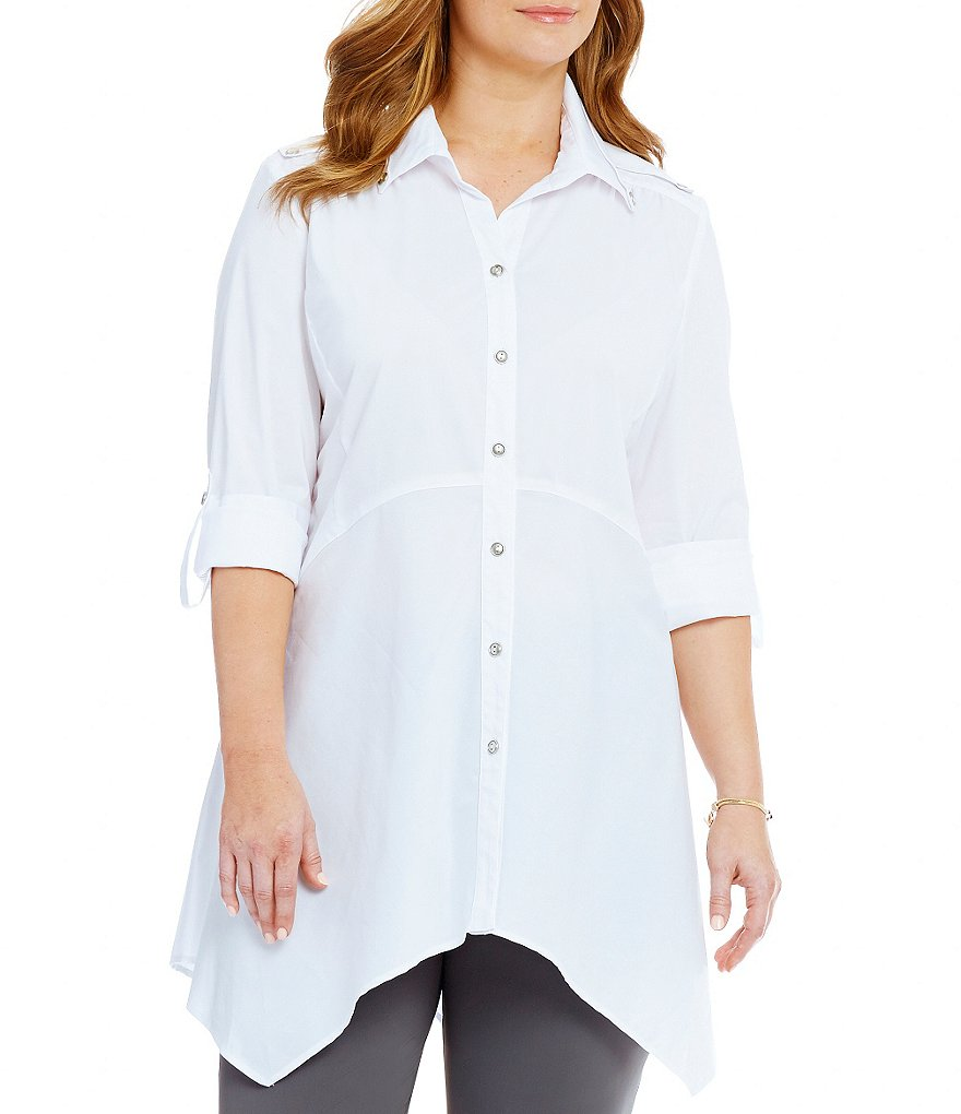 IC Collection Plus Long Button Front Blouse
