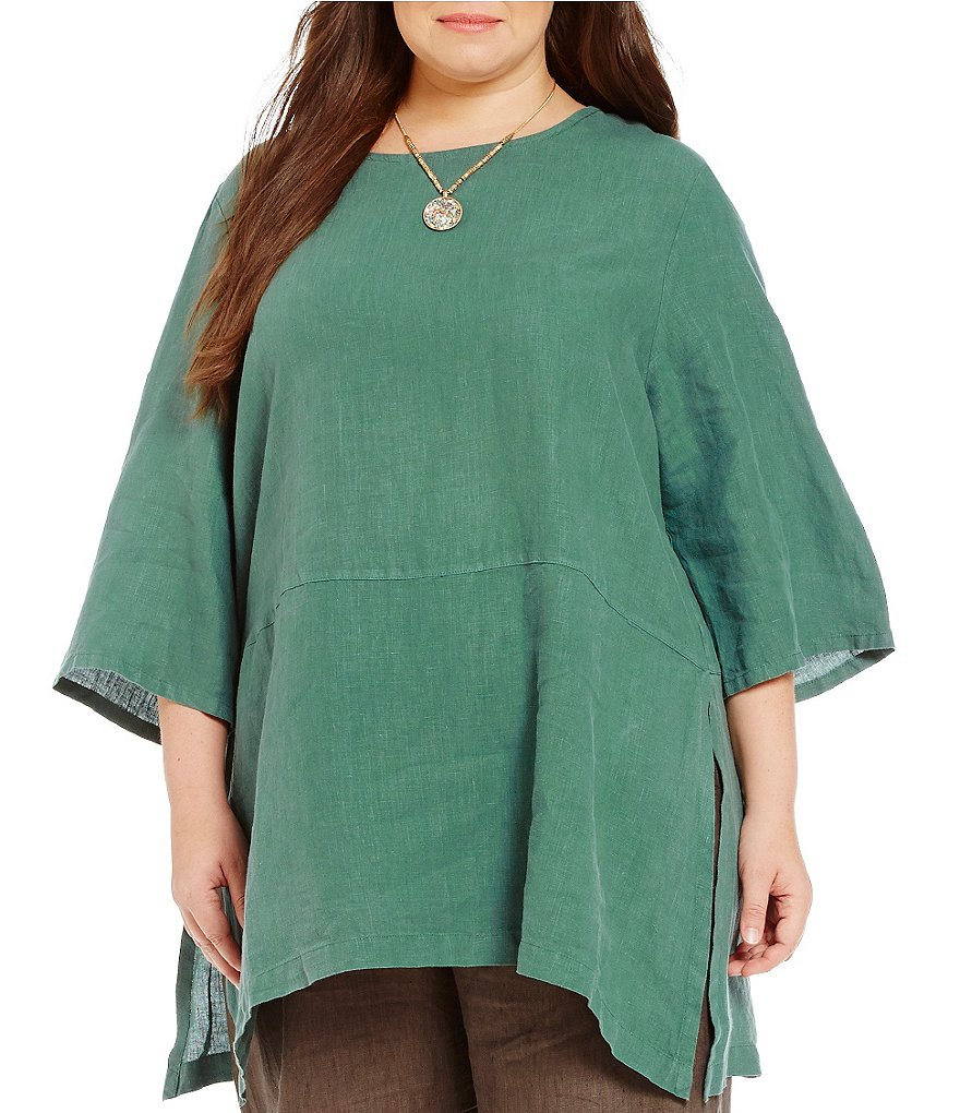 Bryn Walker Plus Bre 3/4 Sleeve Linen Tunic