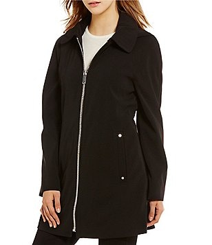 London Fog Point Collar A-line Zip Front Hooded Solid Rain Coat