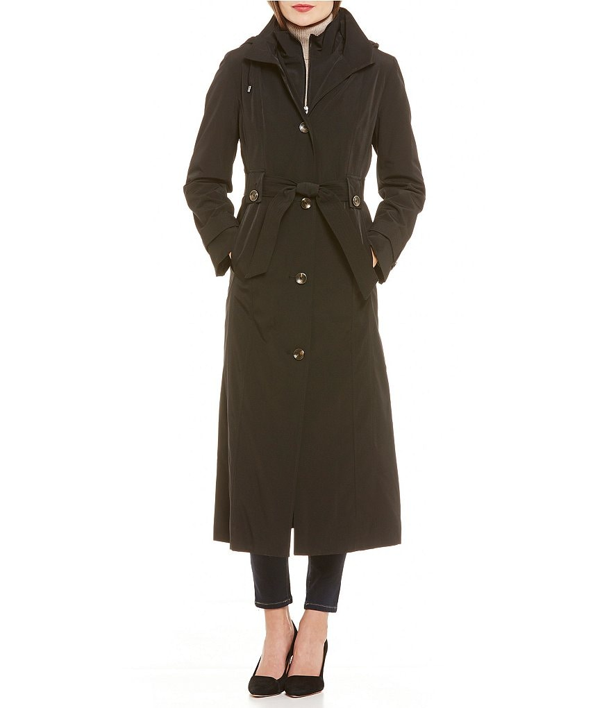 London Fog Single Breasted Long Rain Coat With Detachable Hood