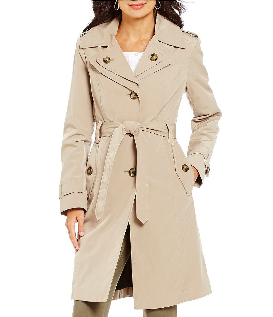 London Fog Single Breasted Rain Trench Coat With Detachable Hood