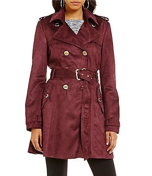 Jessica Simpson Faux Suede Double Breasted Trench Coat