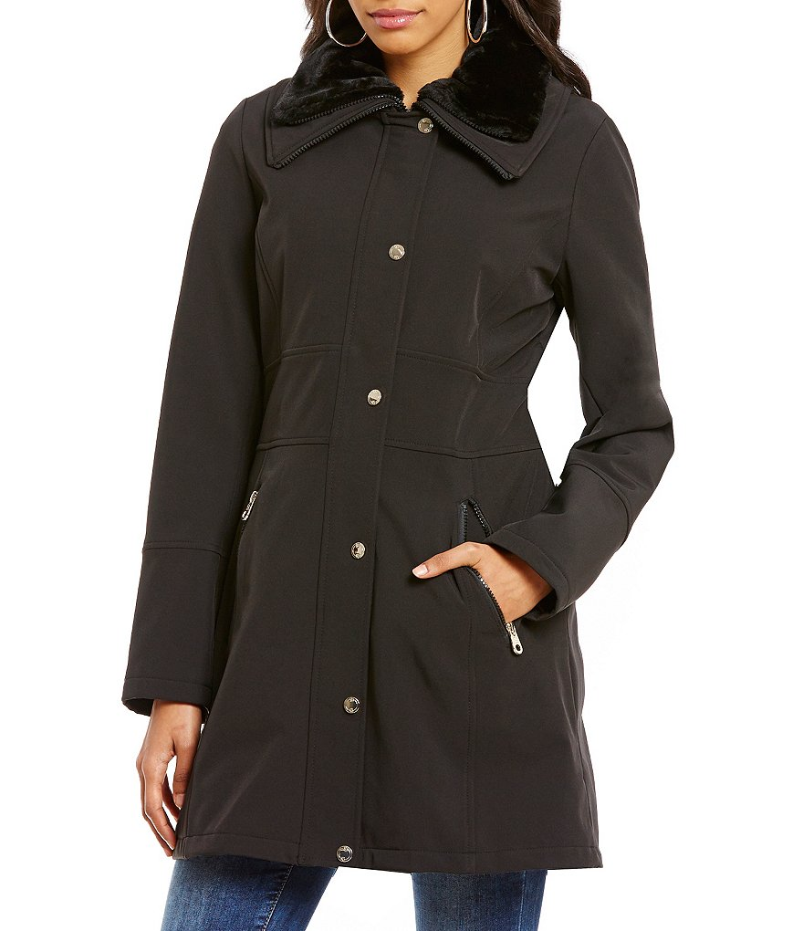 Jessica Simpson Soft Shell A-line Faux-Fur Collar Coat