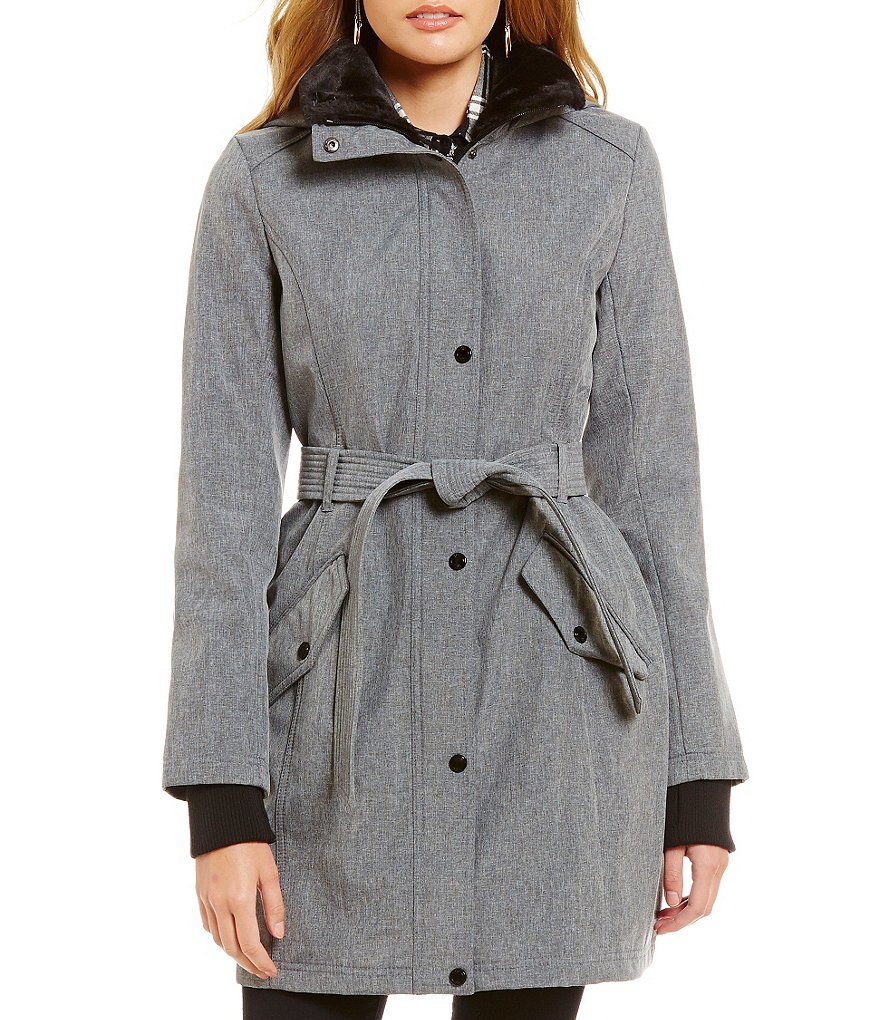 Jessica Simpson Belted Soft Shell With Faux-Fur Collar