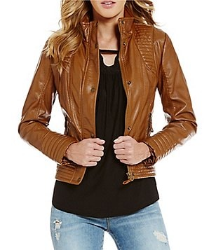 Jessica Simpson Stand Collar Front Zip Faux Leather Jacket