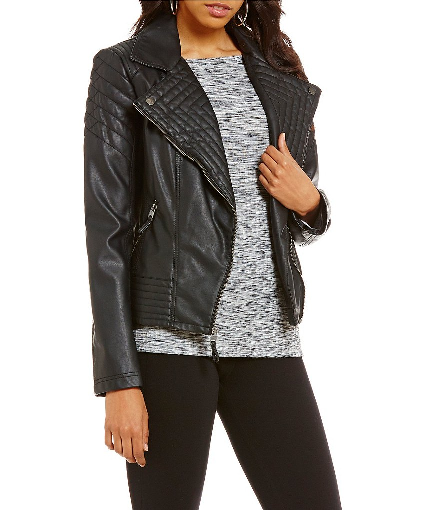 Jessica Simpson Asymmetrical Zip Faux-Leather Moto Jacket
