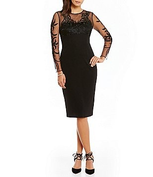 David Meister Embroidered Illusion Sleeve Jersey Sheath Dress