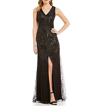David Meister V-Neck Embroidered Sequin A-Line Front Slit Gown