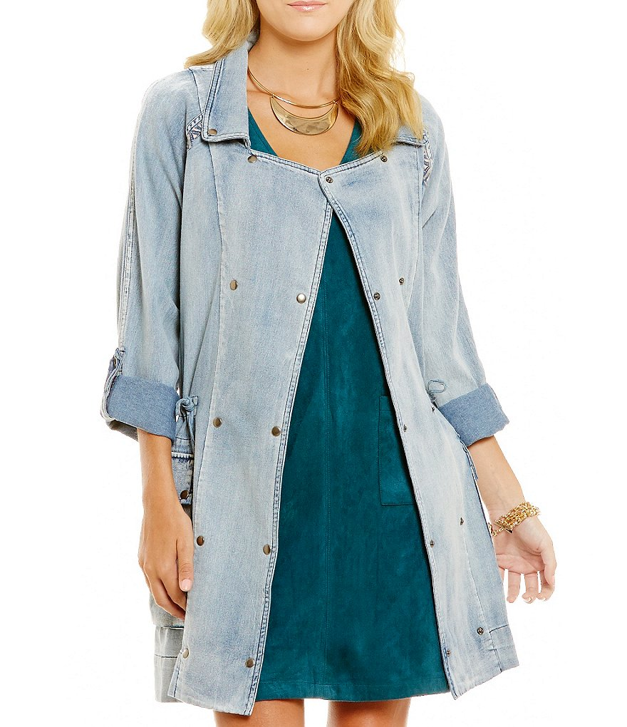 Miss Me Embroidered Denim Anorak Jacket