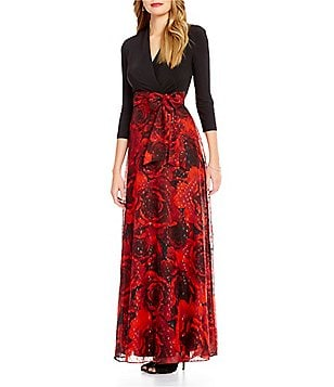 Leslie Fay Rose Skirt Wrap Gown