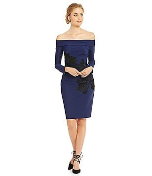 Kay Unger Applique Scuba Off-the-Shoulder Sheath Dress