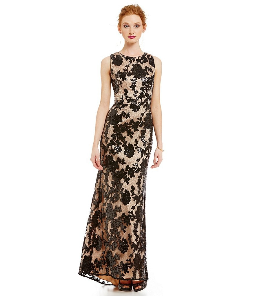 Vince Camuto Boat Neck Lace Floral Gown