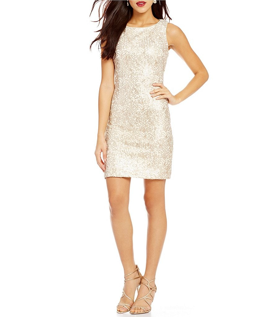 Leslie Fay Sleeveless Sequin Lace Sheath Dress