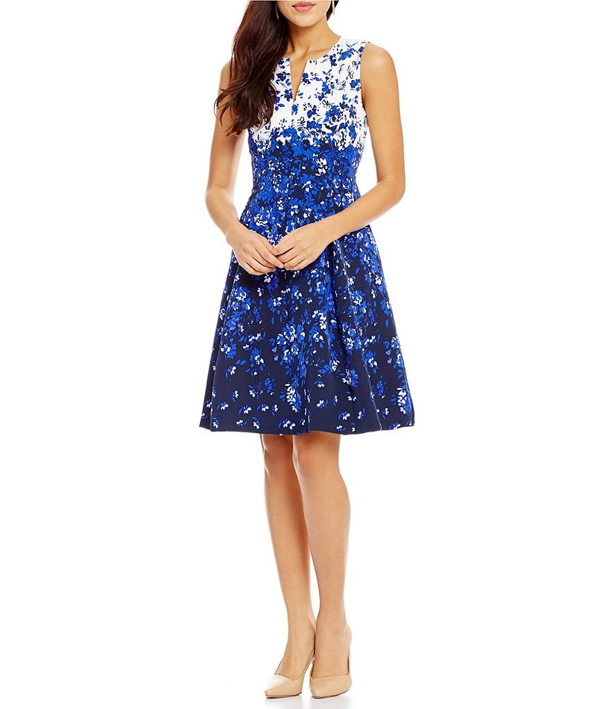 Leslie Fay Split V-Neck Twill Floral Fit-And-Flare Dress