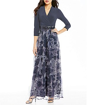 Leslie Fay 3/4 Sleeve Wrap Long Sequin Maxi Dress