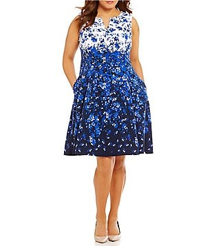 Leslie Fay Plus Split V-Neck Floral Fit-and-Flare Dress