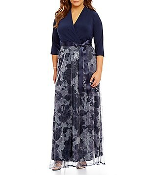 Leslie Fay Plus 3/4 Sleeve Wrap Long Sequin Maxi Dress