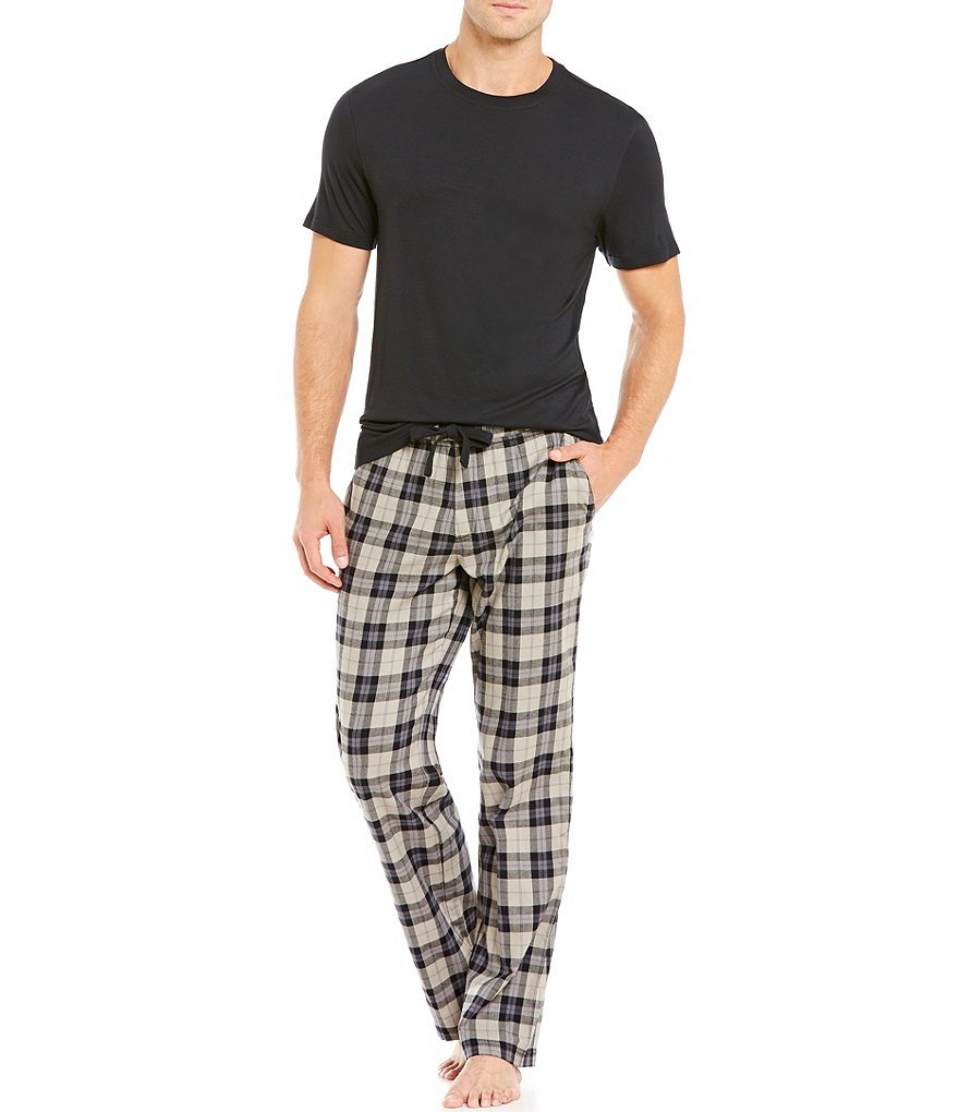 UGG® Grant Solid Tee and Plaid Pants Pajama Set