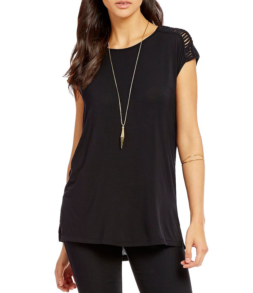 Guess Olive Short-Sleeve Knotted Shoulder Tunic