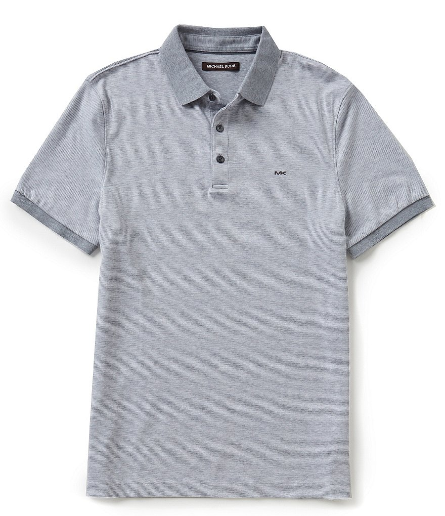 Michael Kors Horizontal Feeder Stripe Short-Sleeve Polo Shirt