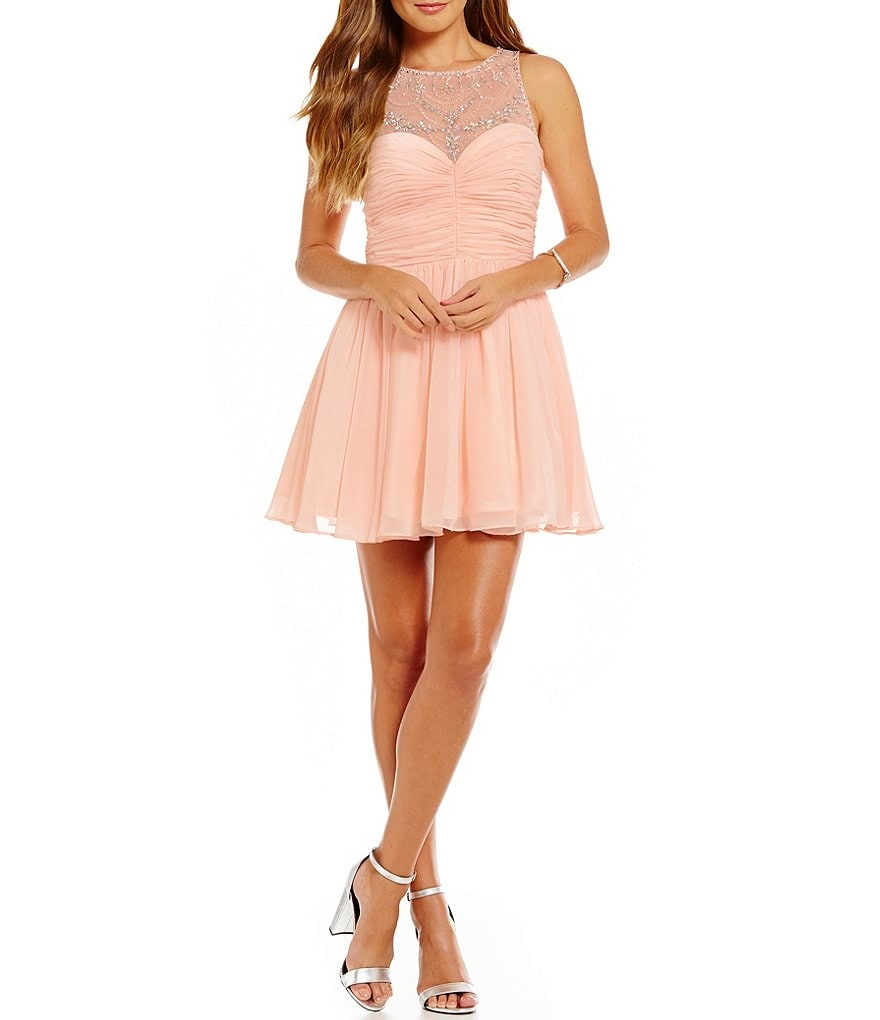 B. Darlin Illusion Beaded Yoke Swing Party Dress