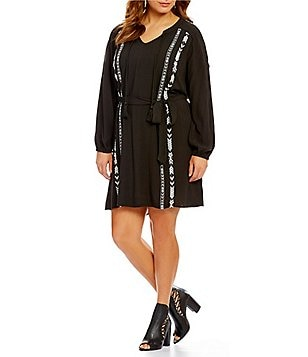 Jessica Simpson Plus Arielle V-Neck Long Blouson Sleeve Embroidered Dress